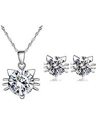 Bisutería 4piezas Hello Kitty cristal Svarovski Eléments blanco plata 925°