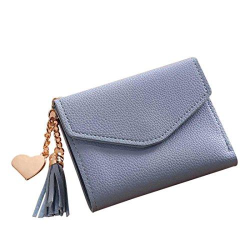 Handtasche Damen Btruely Kurze Brieftasche Quaste Mädchen Leder kleine Mini Brieftasche Halter Zip Geldbörse Clutch Handtasche Lange Geldbörse Leder Brieftasche (Blau) (Leder Geldbörse Calvin)