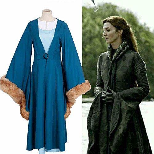 Sunkee Halloween Game Of Thrones Cosplay Catelyn Stark Partei-Kostüm, Maßgeschneiderte (Bitte geben Sie Ihr Gewicht, Höhe, Breite, Taille, Brust und Hüfte) (XXL: 175-185cm , Catelyn Stark (Catelyn Kostüm Stark)