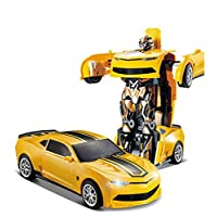 2.4G R/C Car Robot Electric Transformation Remote Control Children Kids Toys-Yellow