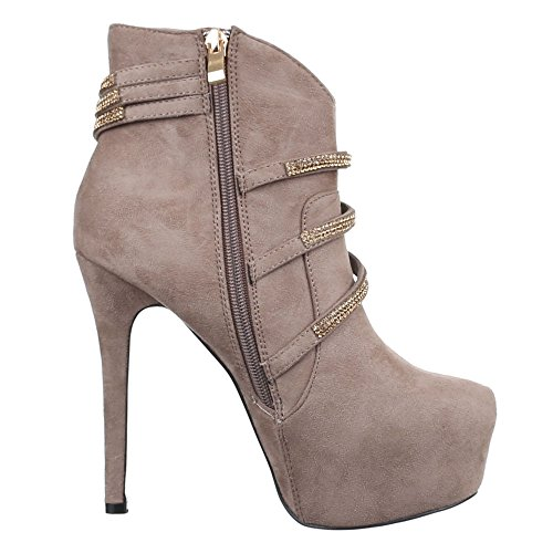 Damen Schuhe, 6238-63, STIEFELETTEN STRASS BESETZTE HIGH HEELS SCHLUPFSTIEFEL STILETTO Hellbraun