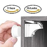 Babysicherheit Magnetisches Schrankschloss 16 Schlösser mit 3 Schlüssel, unsichtbare Magnetschloss für Schrank und Schubladen, ohne Bohren und Schrauben, Installationschablone enthalten - TimberRain