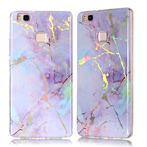 Huawei P9 Lite Hülle, YT MARQUEEN Glänzend Marmor Design Soft TPU Silikon Schutz Handy Hülle Handytasche HandyHülle Case Cover Schutzhülle für Huawei P9 Lite - Lila