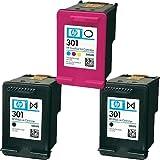 2x schwarz & 1x Farbe Original HP 301Tintenpatronen für Verwendung mit HP ENVY 5532Drucker