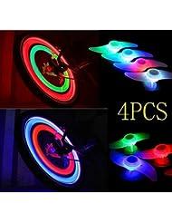 agooding 4pièces multicolore voiture vélo Roue Valve du pneu bonnet rayons Néon LED Lampe/Lampe de sécurité pour rayons de roue de rayons lumineux rayons de vélo/LED/LED lumière, Type B