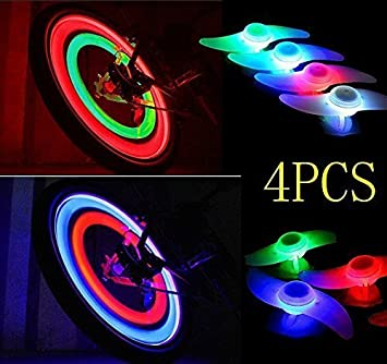 Agooding 4PCS Colorful Bike Spoke Lights Bicycle Wheel Accessories 3 Light Mode Options Waterproof Used For Safety And Warning