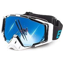 Ewin Gafas de Todo-terreno Esquí Nieve Snowboard Motonieve Patinaje de Hielo Gafas de Proteccion para Hombres y Mujeres, Esquí Snowboarding Deportes al Aire Libre, Vision Esferica Real REVO Lente Antiniebla (Blanco)