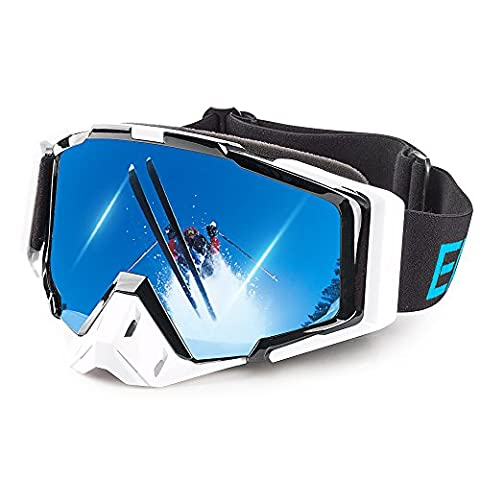 Ewin BMX Bike Motorcycle Motocross Off-Road Ski Snow Snowboard Snowmobile Goggles for men women outdoor sports (White)