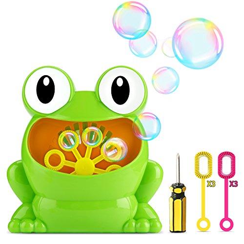 (Fansteck Seifenblasen Maschine für Kinder, Mini Tragbare Bubble Machine als Frosch Figur, Kinder Garten Spielzeug Outdoor Toys, Ideal für Party, Grillfeste und Hochzeiteh, usw. …)