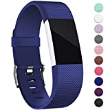 Mornex Kompatibel Fitbit Charge 2 Armband, Original Ersatzarmband Sport Fitness Watch Band für Fitbit Charge 2 Armband, Blau, Small