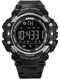 Lancardo Reloj Inteligente Smartwatch Monitor Saludable Podómetro Caloría Reloj Deportivo Impermeable de 50m Bluetooth Control Remoto para Android y iOS Smartphones para Hombre, Mujer (Plata).