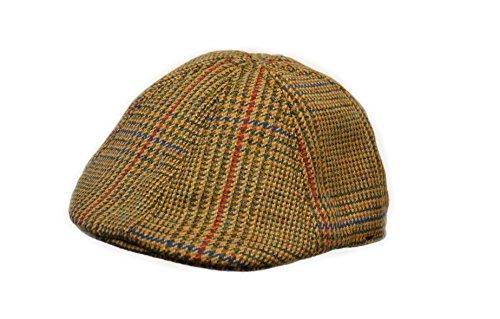 Crown Cap Scottish Tweed 6 Panel Duck Bill Ivy Cap, Unisex, Gold Glen Check, X-Large Tweed Ivy Hat