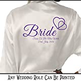 Personalised Satin Kimono /Robe Hearts Design 1. Bride, Bridesmaid, Maid of Honour, Mother of the Bride / Groom (Purple Printing)