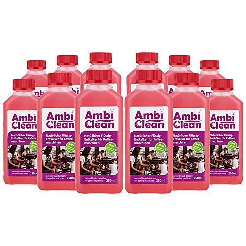 AmbiClean® Flüssig-Entkalker für Kaffeevollautomat, Kaffee-Maschine, Wasserkocher etc. | 100% Biologischer Kalk-Reiniger - 12 x 250ml