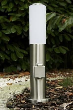 Borne lumineuse avec prise lectrique pour le jardin - Borne lumineuse jardin ...