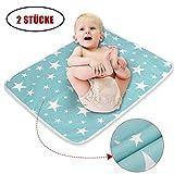 2 Stücke Waschbar Säugling Wickelunterlage für Babys und Kleinkinder - Atmungsaktiv, Wasserdicht, Wiederverwendbare Urin Matte Abdeckung ((Fantasie Sterne, M - 50 x 70 cm))