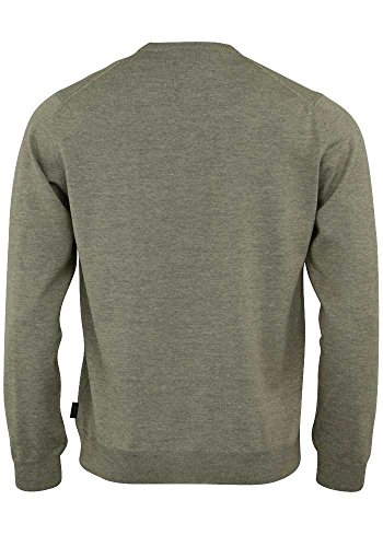 OLYMP Strick Pullover V-Ausschnitt extrafeine Merinowolle mittelrot Taupe