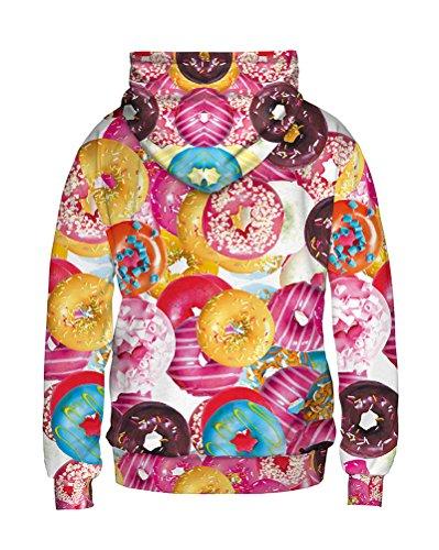 Donna Felpa Con Cappuccio Personalità 3D Digitale Donuts Immagine Stampa Casual Sweatshirt Come Immagine