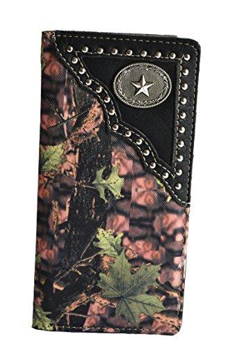 Stony West men black camo oak leaf Texas star outdoor secretary bifold slim tall long wallet
