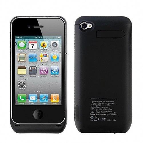 ZOGIN para iPhone 4 / 4S 3000mAh Funda de Batería Externa / Funda Protectora Cargador / Funda de Batería Integrada Recargable de Alta Capacidad con Soporte de Móvil Plegable, Color Negro