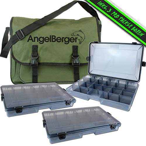Angel-Berger Spinntasche mit Boxen Angeltasche Kunstködertasche Umhängetasche (inkl. 3 Boxen)