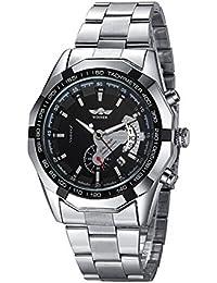 Moda Acero Inoxidable Los Hombres Automático Reloj Mecánico, Negro