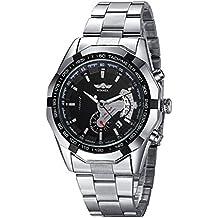 Moda Acero Inoxidable Los Hombres Automático Reloj Mecánico,Negro