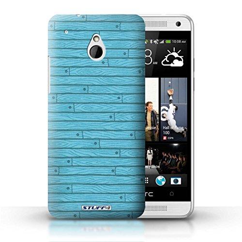 Kobalt® Imprimé Etui / Coque pour HTC One/1 Mini / Beige conception / Série Motif Bois Turquoise