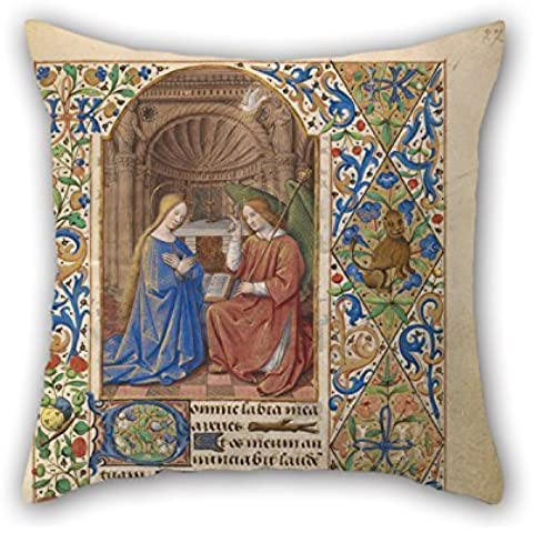 Loveloveu Pillowcase Of Oil Painting Jean Bourdichon (French - The Annunciation 16 X 16 Inches / 40 By 40 Cm,best Fit For Bedding,festival,lover,couch,office,kids Boys Two