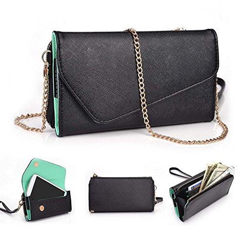 Kroo d'embrayage portefeuille avec dragonne et sangle bandoulière pour BenQ F5/A3 Multicolore - Black and Green Multicolore - Black and Green