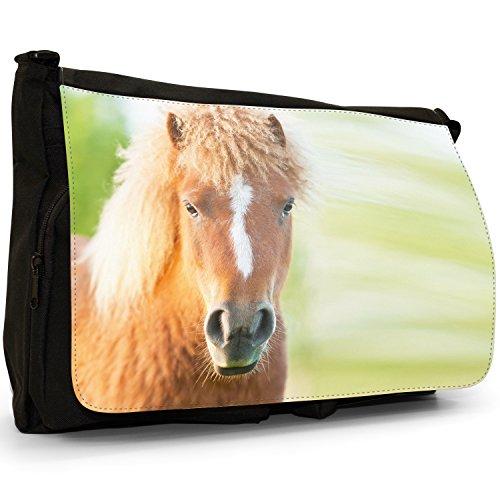Pony e pony Shetland Grande borsa a tracolla Messenger Tela Nera, scuola/Borsa Per Laptop Curly Haired Little Brown Pony
