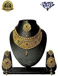 Gold Plated Artificial Designer Jewellery Set With Maangtika