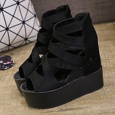 LvYuan Damen-Sandalen-Lässig-PU-Creepers-Andere-Schwarz Weiß Silber Black