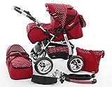 Chilly Kids iCaddy Kinderwagen Safety-Set (Autositz & ISOFIX Basis, Regenschutz, Moskitonetz, Getränketablett, Wickelunterlage) 27 Rot & Weiße Punkte