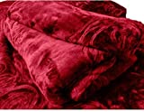 SRS Maroon Floral Double Bed Mink Blanke...