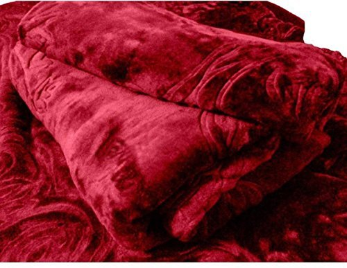 SRS Maroon Floral Double Bed Mink Blanket with Complimentary Stylish Bag