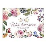 15 x Save the Date Karten mit Umschlag / Wir heiraten - Schmetterling und Blumen / Hochzeit / Liebe / Heirat / Einladung