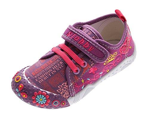 Slobby Kinder Leinen Schuhe Jungen Mädchen Stoff Hausschuhe Klettverschluss Lila Kita Halbschuhe Gr. 28