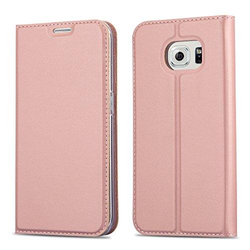 Cadorabo Hülle für Samsung Galaxy S6 Edge - Hülle in ROSÉ Gold - Handyhülle mit Standfunktion & Kartenfach im Metallic Erscheinungsbild - Case Cover Schutzhülle Etui Tasche Book Klapp Style