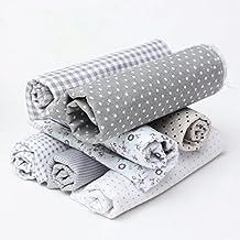 KING DO WAY 7pz DIY Tessuti Stampato Cotone per Cucire Stoffa per Patchwork Floreale-Grigio 45cmX45cm