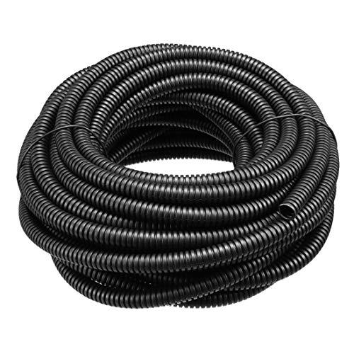 ZCHXD Corrugated Tube Conduit PP Polyethylene Tubing Flexible Pipe Hose Black 6mm Inner Dia 9mm Outer Dia. 10M Long - Corrugated Polyethylene Pipe