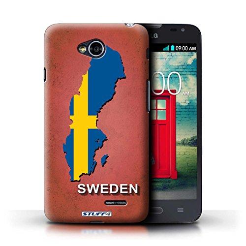 Kobalt® Imprimé Etui / Coque pour LG L70/D320 / Suisse/Swiss conception / Série Drapeau Pays Suède/Suédois