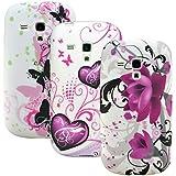 zkiosk 1643 Design Auswahl 25 Schmetterlinge Blumen Herzen Silikon Schutzhülle für Samsung Galaxy S3 mini i8190 (3-er Pack) lila/rosa/weiß/schwarz