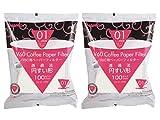 Hario VCF-01-100W V60 Papierfilter für 01 Kaffee Dripper, weiß x 2Pack (Gesamt 200 Stück) Wert Set