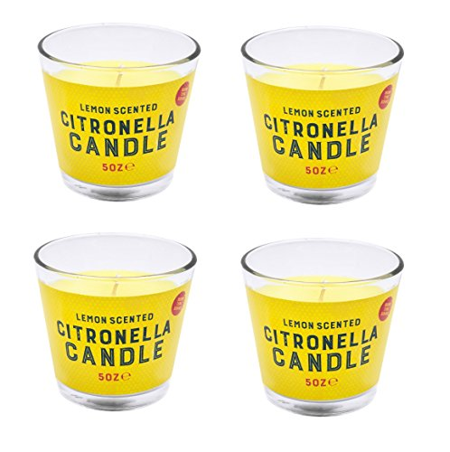 Invero® 4er Set Citronella-Wachskerzen mit Zitronenduftim Glas, 30Stunden Brenndauer, ideal für zu Hause, Küche, Bars, Büro, als Geschenk usw. Pixel Bar