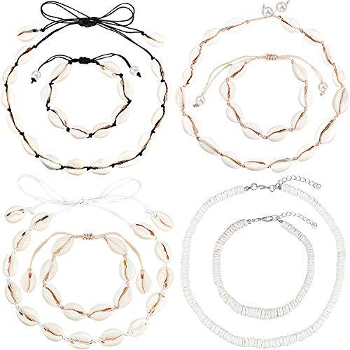 Hicarer 4 Stücke Muschel Choker Halskette Handgefertigte Muschel Halskette und 4 Stücke Fußkettchen Armband Kauri Muschel Halskette mit Verstellbaren Seil für Damen Mädchen