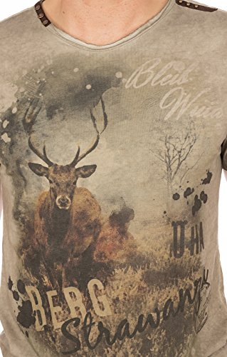 MarJo Trachten T-Shirt M69 - Berg Strawanza brau, 2XL - 2