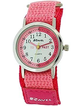 Ravel Kinderzeitlernuhr rosa/ Nylonklettarmband R1507.54 + Uhr Lesen Urkunde