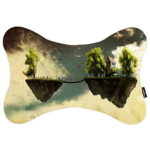 i FaMuRay DIY Cuscino morbido per il collo in Memory Foam Bokeh Bridge Dream Fantasy Floating Fly House Island Sky Trees Theme