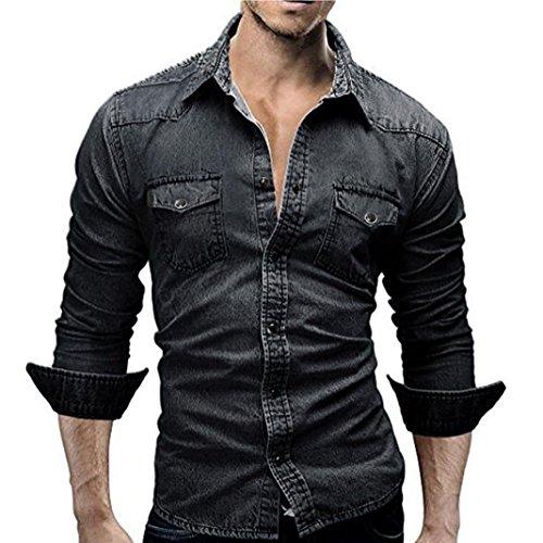 Maglia a maniche lunghe da uomo,sonnena giacca in denim tinta unita camicie da uomo retro camicia di jeans camicetta da cowboy slim top sottili maglietta uomo manica lunga (l, nero)